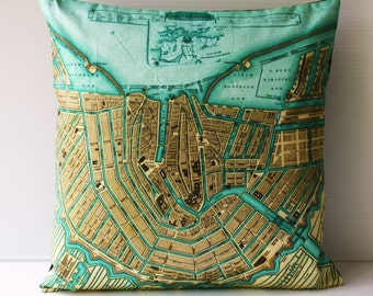 Cushion cover pillow map pillow, AMSTERDAM map, cushions organic cotton, pillow 16x16, decorative pillow.