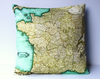 Vintage France map pillow, decorative pillow, FRANCE map cushion, organic cotton, 40cm cushion, pillow cover, map cushion, 16 inch, 41cm