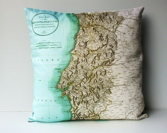 Throw pillow, map pillow PORTUGAL organic cotton cushion cover, map cushion inch, pillow cover 16x16 inch cushion