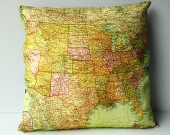 United states map Cushion cover/ pillow USA map cushion/ organic cotton/ throw pillow /16x16 /pillow cover