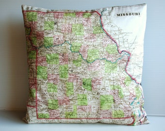 cushion covermap pillow MISSOURI State, map pillow,  cushion, vintage map, organic cotton, 16 inch, 41cm
