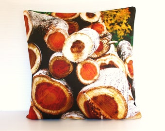 "Organic cotton Pillow cover, 40cm decorative cushion, 16 inch cushion FIREWOOD organic cotton cushion cover, pillow, 16"", 41cms"