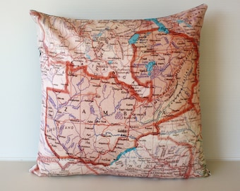 Vintage map print pillow ZAMBIA/ Organic cotton cover/ 16 inch pillow cover
