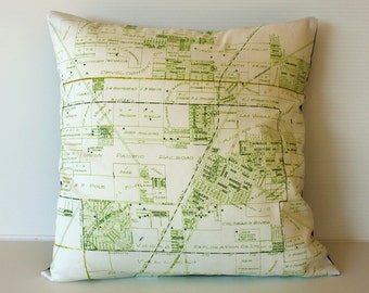 Cushion cover, pillow city map LAS VEGAS organic cotton vintage map cushion, 16 inch 41cm, 16x16 cushion