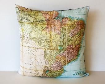 Decorative throw pillow  map eco friendly BRAZIL map cushion, map pillow, cushion cover  organic cotton, 16 inch/ 41cm