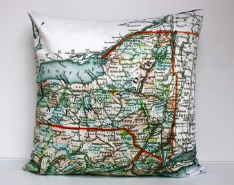 Pillow cover 16x16  map pillow NEW YORK STATE map cushion,organic cotton,cushion cover, 40cm cushion