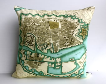Decorative pillow COPENHAGEN map cushion, organic cotton , pillow, cushion , 16 inch, 41cm