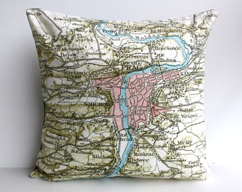 City map Prague/  vintage map Cushion cover /map pillow cushion PRAGUE / Organic cotton /  16x16 / 41cm x 41cm