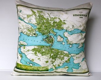 Map cushion cover, city map STOCKHOLM  organic cotton, atlas cushion, 16 inch cushion, 40cm pillow, throw pillow