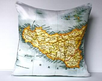 decorative cushion SICILY Italy  map cushion, organic cotton, cushion cover, pillow, 16x16 pillow 40cm cushion