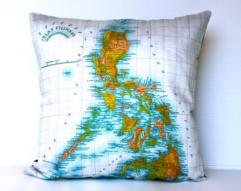 eco friendly cushion cover THE PHILIPPINES map cushion, organic cotton pillow, 16 inch, 41cm 16x16 inch pillow