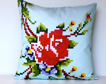 decorative pillow Pixel Rose organic cotton cushion cover, pillow cover, 40cm cushion, 16x16 cushion cover