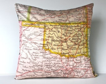 vintage map cushion OKLAHOMA STATE vintage map pillow, organic cotton,  cushion cover,  16 inch, pillow 40x40cm cushion