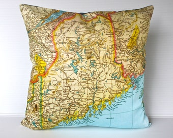 cushion cover pillow MAINE STATE vintage map  organic cotton,   16 inch, 41cm