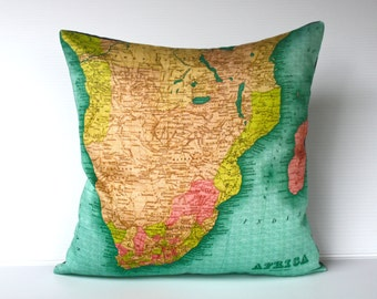 Pillow cover, map cushion SOUTHERN AFRICA Organic cotton Atlas map of Africa, cushion cover, pillow,16 inch, 41cm