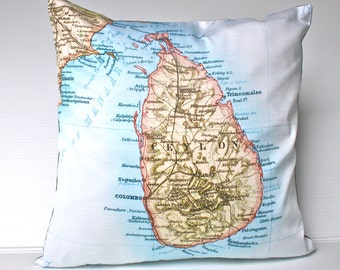 Vintage country map Sri Lanka/  eco friendly cushion cover/ Sri Lanka map cushion / organic cotton pillow / 16 inch pillow