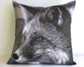 "Fox animal cushion cover / animal pillow/ kids decor/  16"" cushion/ 40cm pillow / monochrome nursery"