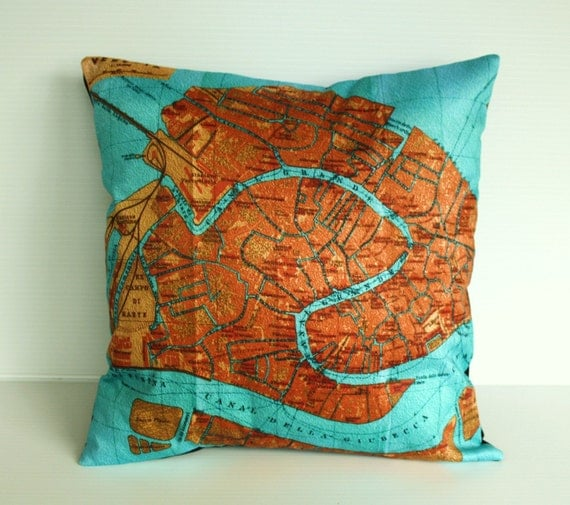 Decorative pillow/ map pillow/ map cushion/ throw cushion/ VENICE map pillow /Organic cotton vintage map/ cushion cover/ 16 inch 41cm