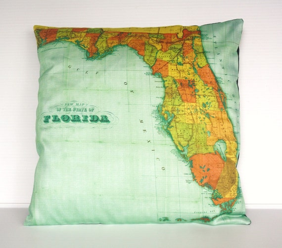 Map cushion vinatge map FLORIDA Organic cotton cushion cover, pillow, map , throw cushion 16x16