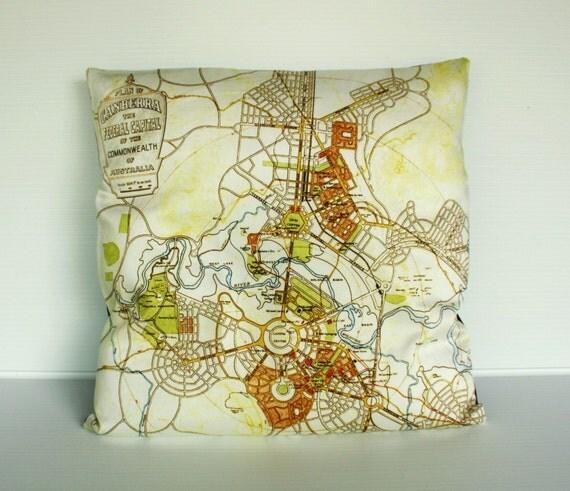 Cushion cover map pillow, City map, CANBERRA, Australia Organic cotton map cushion, 40cm cushion