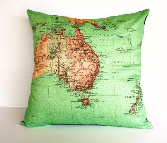 Vintage map cushion cover/ map pillow AUSTRALIA NEW ZEALAND / map cushion/ 40cm cushion/ organic cotton cushion cover.