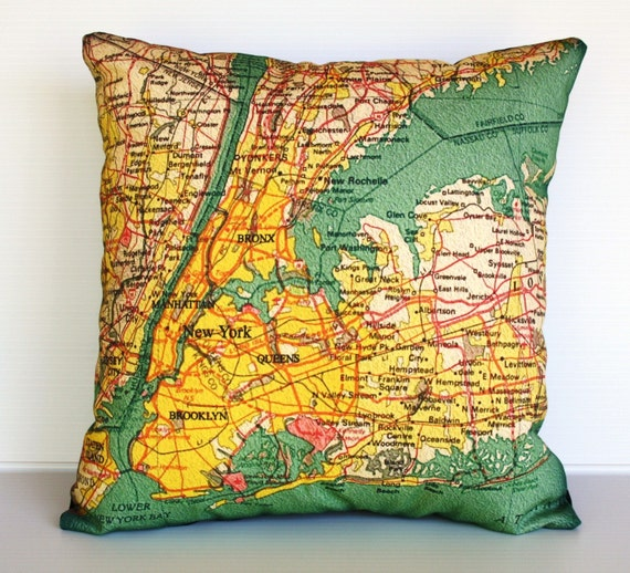 Vintage map NEW YORK pillow cover/ map pillow / organic cotton/ 16 inch/ 40cm