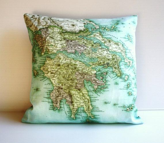 Cushion cover, map pillow, cushion GREECE organic cotton map cushion cover, 16x16 pillow, 16inch, 41cms