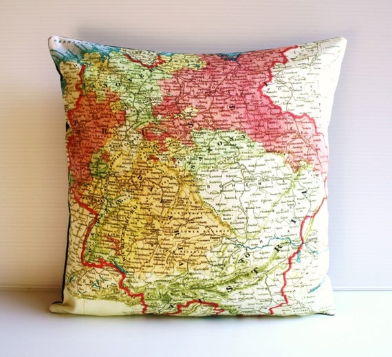 Organic Decorative Pillow Covers : Decorative pillow GERMANY map cushion organic cotton cushion