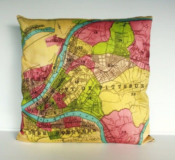 Decorative pillow, Map pillow PITTSBURGH organic cotton map cushion, pillow cover, 16x16 cushion cover, 16inch