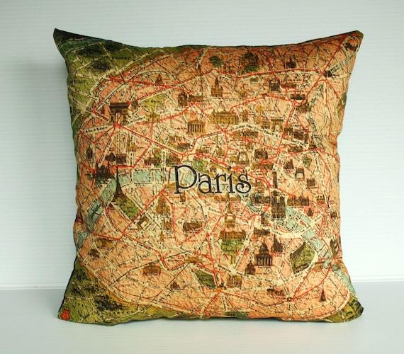 Decorative Pillow covers, map cushion covers PARIS Organic cotton Vintage Paris map cushions, 16 inch pillow, 40cm pillows.