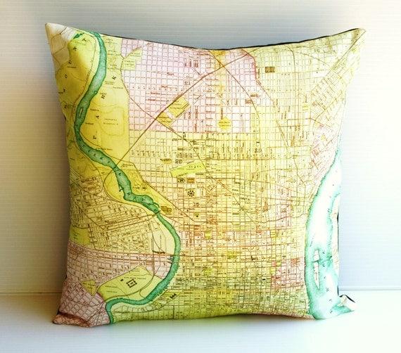 Pillow cover, cushion cover PHILADELPHIA map organic cotton, cushion, pillow, map cushion 16 inch