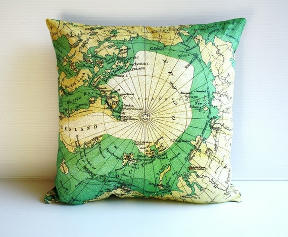 Map cushion cover , Decorative throw cushion map cushion  ARCTIC CIRCLE cushions cover, map pillow, 40cm cushion, 16 inch pillow,