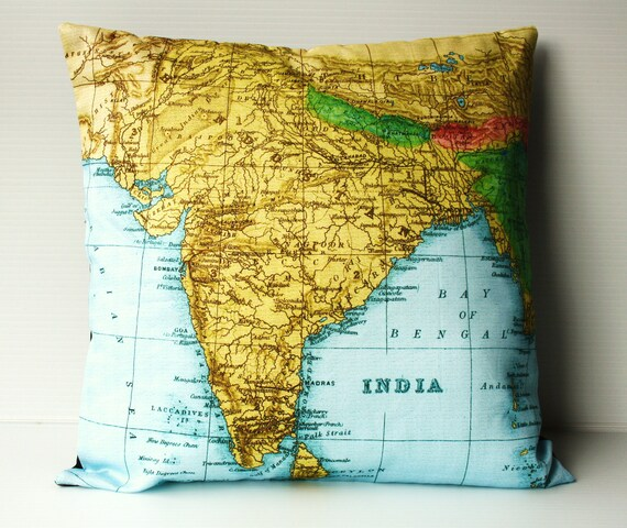Vintage Map print pillow/ India map print/  map cushion/ INDIA and NEPAL map pillow/ organic cotton/ 16 inch, 41cm/ vintage map