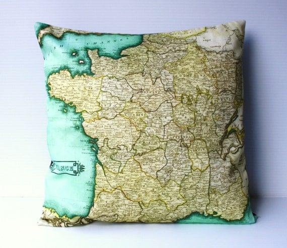 Vintage France map pillow, decorative pillow, FRANCE map cushion, organic cotton, 40cm cushion, pillow cover, map cushion, 16 inch, 41cm
