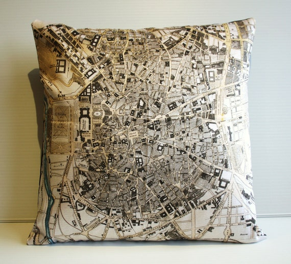 Pillow cover city map MADRID/ vintage city map cushion/ organic cotton / cushion cover/  pillow/ 16 inch cushion/ 40cm cushion