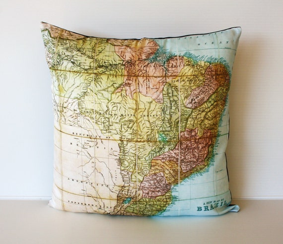Decorative throw pillow  map eco friendly BRAZIL map cushion, map pillow, cushion cover  organic cotton, 16 inch/ 41cm