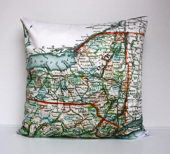Pillow cover 16x16  map pillow NEW YORK STATE map cushion,organic cotton,cushion cover, 40cm cushion