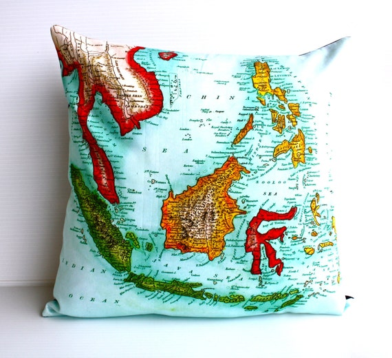 Vintage Map cushion cover /  map pillow INDONESIA / 40cm pillow organic cotton/ throw pillow /16 inch cushion cover / decorative pillow.