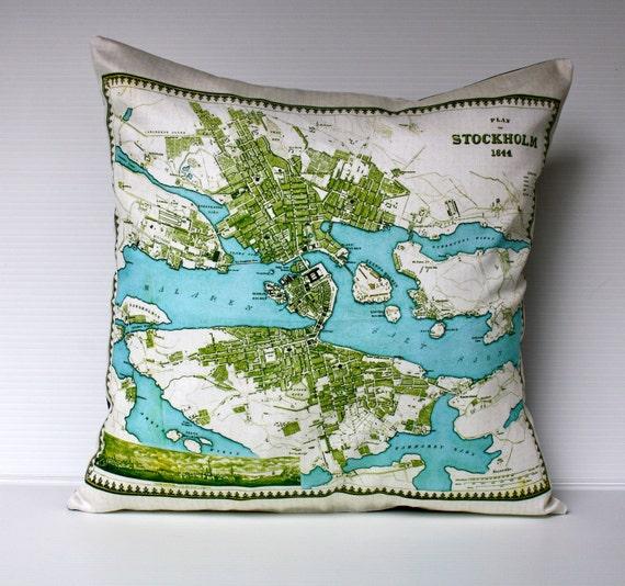Map cushion cover, city map STOCKHOLM  organic cotton, atlas cushion, 16 inch cushion, 40cm pillow, throw pillow