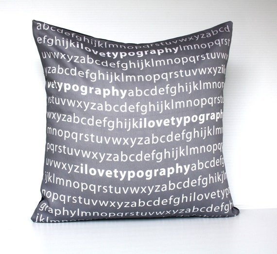 "decorative pillow eco friendly  I love typography  in grey and white organic cotton cushion cover, pillow, 16"", 41cms"