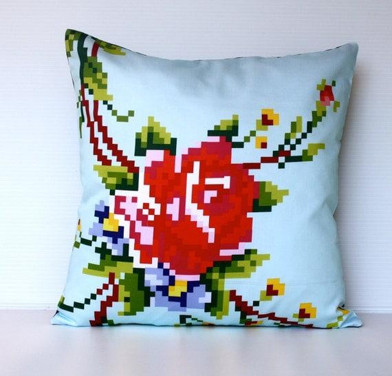 decorative pillow Pixel Rose organic cotton cushion cover, pillow cover, 40cm cushion, 16x16 cushion cover