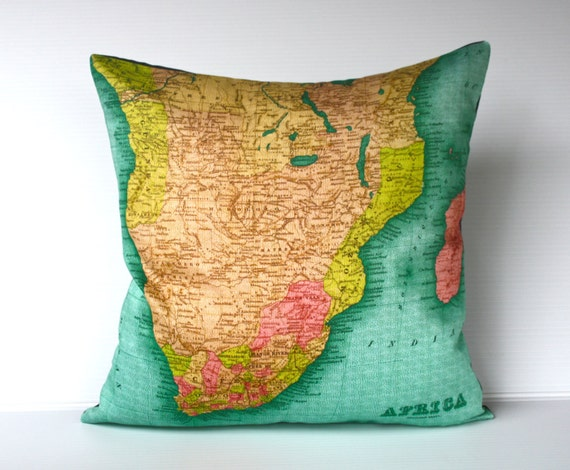 Map print pillow cover / Pillow cover/ map cushion SOUTHERN AFRICA/ Organic cotton Atlas map of Africa/ vintage map print.
