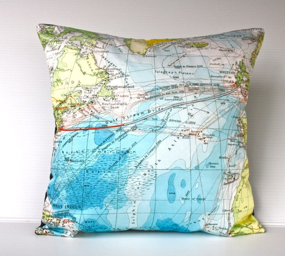 Map TITANIC VOYAGE  / gifts for dad / eco friendly cushion / Organic cotton / map cushion / map pillow / 16 inch cushion cover / 41cm pillow