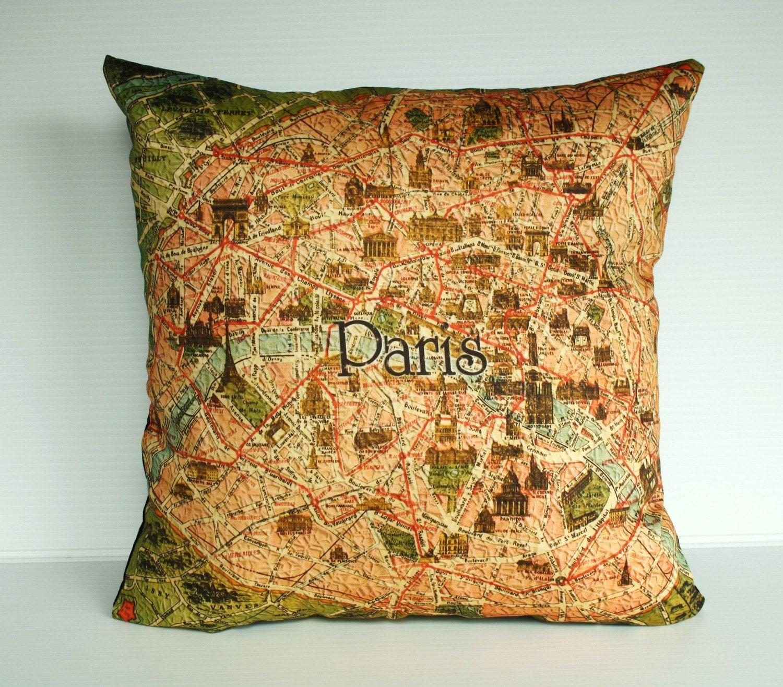 Organic Decorative Pillow Covers : Decorative Pillow covers map cushion covers PARIS Organic