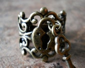 Sweetheart Lock and Key Steampunk Ring in Brass EXCLUSIVE DESIGN