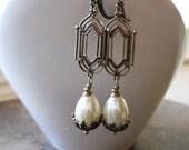 Stained Glass Window Pearl Drop Earrings in Brass