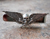 Flying Skull Tie Clasp, Steampunk Tie Clasp By Enchanted Lockets - EnchantedLockets