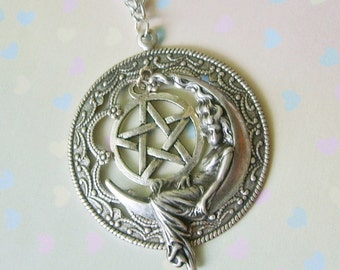 Dark Moon Goddess Enchanted Pentacle Necklace EXCLUSIVE DESIGN