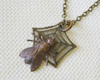 Spider Web Necklace, Said the Spider to the Fly, Halloween