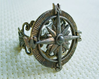 THE ORIGINAL Adventurer Steampunk  Compass Ring